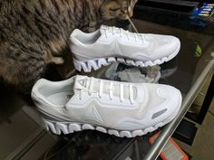White Erkies No-Tie Shoelaces on a new pair of Reebok Zigtechs Air Max Sneakers, Sneakers Nike, Elastic Shoe Laces, Tie Shoelaces, Reebok, Nike Air Max, Pairs, Shoes, Fashion