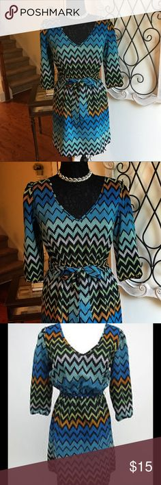 💙💙BEBOP Chevron Blue & Green Dress Small. Classy 💙💙Bebop Chevron blue & green dress size small. Length is 32' and comes with a matching belt your can tie. 3/4 inch sleeves.  Very lightweight and breathable! Great dress for work or dress it up with sexy black heels and necklace! 💙💙❗️❗️❗️ BeBop Dresses Midi