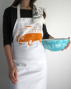 Screen Printed Apron | Natural Cotton Twill | VW Bus Illustration