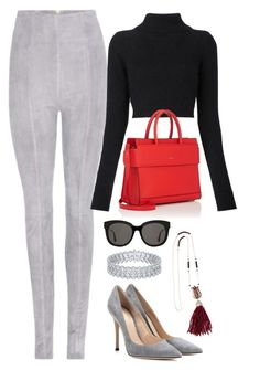 Black, Grey & Red by carolineas on Polyvore featuring polyvore, fashion, style, Balmain, Gianvito Rossi, Givenchy, Latelita, Gentle Monster and clothing