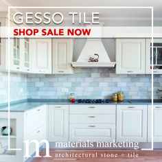 """Gesso Tile! This double-fired ceramic, with manual glazing intervention, will add a contemporary Urban flair to your design. Our wide selection of 4"""" X 8"""" Gesso tiles, available in 18 different color options, are on Sale Now for a limited time. Visit www.Materials-Marketing.com to pick yours out today! #ceramictiles #handcrafted #kitchendecor #kitchenrenovation #kitchendesign #kitchenremodel #kitcheninspiration #kitchenideas #kitcheninspo Kitchen Decor, Kitchen Design, Stone Tiles, Backsplash, Your Design, Kitchen Remodel, Manual, Kitchen Cabinets, Urban"""
