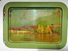 Old Antique India Iron Tin Serving Beach House Litho Print Tray Collectible Rare