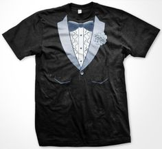 Vintage Ruffled Tuxedo Mens T-shirt Funny Trendy Gag Fake Tux Bow Tie With Boutonniere Mens Shirt Large Black ...