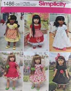 """18"""" GIRL DOLL CLOTHES Simplicity Sewing Pattern 1486 American Made NEW Uncut #Simplicity"""