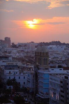 Sunset over Avenue Habib Bourguiba in Tunis_ Tunisia
