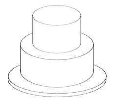 Design your own cake with this outline of a basic tiered