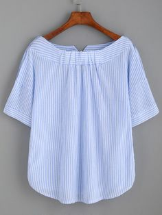 Shop Striped Boat Neck Blouse With Buttons online. SheIn offers Striped Boat Neck Blouse With Buttons & more to fit your fashionable needs. Sewing Clothes, Diy Clothes, Clothes For Women, Shirt Refashion, Tee Dress, Woman Outfits, Blouse Designs, Blouse Patterns, Casual Outfits