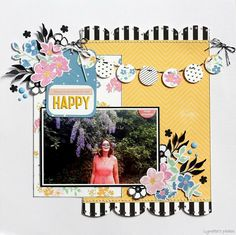 My Life.Perfectly Imperfect: Happy - Pinkfresh Studio - My favorite Story Scrapbook Layout Sketches, Digital Scrapbooking Layouts, Travel Scrapbook Pages, Creative Memories, Photo Layouts, Scrapbook Embellishments, American Crafts, Layout Inspiration, Scrapbooks