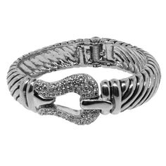 Designer Inspired Fine Finished Rhodium Alloy Cable Style with Pave Diamond CZ Bracelet