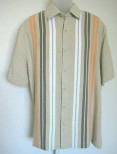 a1911fdc Details about Nat Nast Mens Shirt Size L Luxury Silk Hawaiian Casual Camp  White Green Black