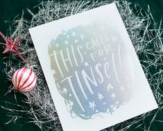 Silver Glitter Art - This Calls For Tinsel holiday art print by Lindsay Letters.