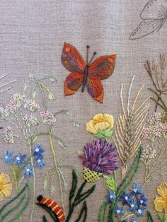 Breath of Spring - Butterfly - Stitched in satin, long and short, bullion, pistil and French knots using variegated and plain stranded cotton.
