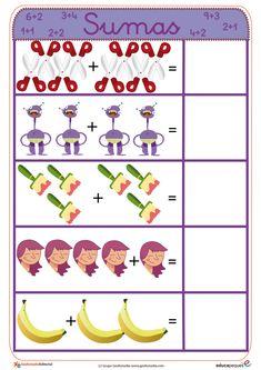 Fichas para aprender a sumar de manera sencilla y muy visual. Aprovecha y utilízalas para los más peques Homeschool Kindergarten, Preschool Math, Activities For Kids, 1st Grade Math Worksheets, Worksheets For Kids, Pre Writing, Math For Kids, Kids And Parenting, Frases