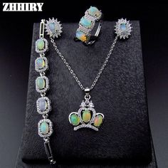Natural Fire Opal Gemstone Jewelry Sets Genuine Stone Solid 925 Sterling Silver