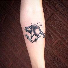 975e2ba12 Everyone's favorite animal bandit. Raccoon tattoo by Morgan Alynn.  #blackwork #linework #