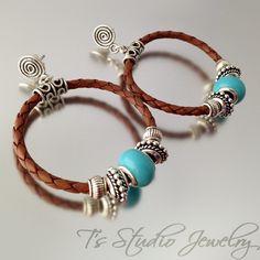 Brown Braided Leather Hoop Earrings - from T's Studio Jewelry - www.tstudiojewelry.com