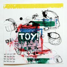 """TOY! Ja nee! Ich mach auch was mit Kunst und so! Und Internet! Ist echt krass wichtig!"", one piece from the series ""black ink and other colors"", ink and acrylic on paper, 25x25 cm, 2012, artist: Jens Stoewhase"