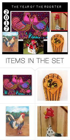 """2017 The Year of the Rooster"" by imaginebaby ❤ liked on Polyvore featuring art, totebag, roosterpainting, roostercarving and knifeholder"