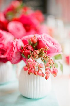 Sweet flower centerpieces for receptions. Rue Magazine (May 2012 Issue). Photography by Lisa Lefkowitz. Event Design by Bustle Events. Food by Batter Bakery. Florals by Max Gill Design. Beautiful Flower Arrangements, Fresh Flowers, Pretty In Pink, Floral Arrangements, Beautiful Flowers, Pink Flowers, Fru Fru, Decoration, Wedding Flowers