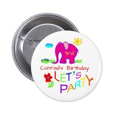 Let's Party Elephant Colorful Name & Age Birthday Pinback Button