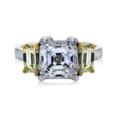 Platinum and Yellow Gold 3.18ct Asscher Cut Three Stone Diamond Ring (Big Girl Ring)