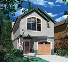 Narrow Craftsman Plan with Covered Porch - 69183AM   Architectural Designs - House Plans