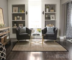 REVEAL ORC Week 6: Combined Living + Dining Makeover - DIY built-in bookcases | pink little notebook