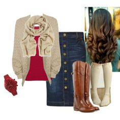 Oatmeal cardigan, button-front jean skirt and tall boots - Polyvore by teresa-sharp on Polyvore