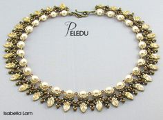 PELEDU Amazing Pearls, Czech Leaves and SuperDuo Beadwork Necklace tutorial instructions for personal use only