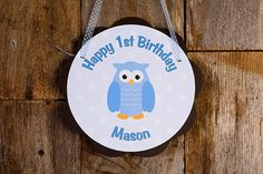 Owl Door Hanger Party Sign - Owl Happy Birthday Party Decorations in Blue & Brown Owl - Boy Birthday Party Owl Theme