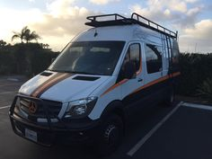 Aluminess roof rack, ladder and light bar on a Mercedes Sprinter.  Photo cred: Nor Cal Pool Productions