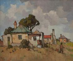 Conrad Theys (b Farmhouse with green roof - 2005 Oil on canvas Landscape Wallpaper, Watercolor Landscape, Landscape Art, Landscape Paintings, Landscapes, South Africa Art, Building Painting, Cottage Art, South African Artists