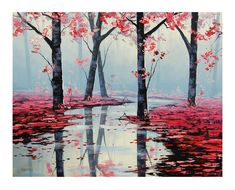PINK WALL DECOR Pink Painting Landscape trees by GerckenGallery