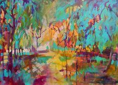 Park Splendor, acrylic on canvas, 24 x 36 www.carlyhardy.com