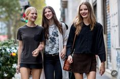 Viale Piave - Anna, Carla & Tilda, Milan (The Styleograph Tilda Lindstam, Models Off Duty, International Fashion, Street Style Women, Milan, Leather Skirt, Style Me, Street Wear, Bomber Jacket