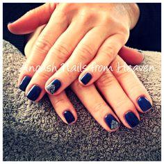 Dark blue bio manicure