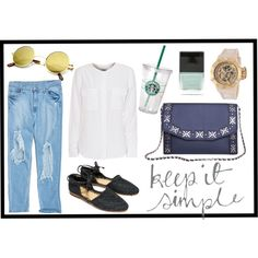 """""""Keep it simple"""" by busta on Polyvore; Featuring the Rock'n'Rolla clutch from BÙSTA #busta #bustabags #leatherclutch #leather #streetstyle #blue #embroidery #folklore #handmade #clutch #metalstrap #metalchain"""