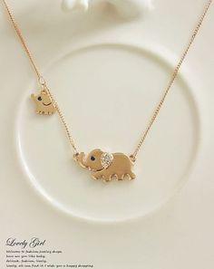Elephant Family Stroll Design Fashion Women Charming Crystal Chain Necklace in Joyería y relojes, Joyas de moda, Collares y dijes | eBay