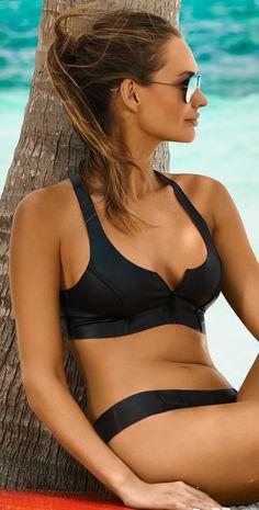 PilyQ 2015 Neo Reversible Zip Halter Bikini -- 60 Great Bikinis, Swimsuits and Beachwear From The PliyQ Lookbook @styleestate