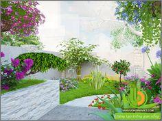 thiết kế thác nước sân vườn với dàn hoa