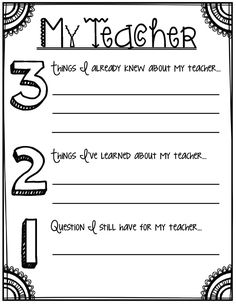 3-2-1 About My Teacher- Back to school printables for grades 3
