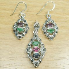 Oval Cut Genuine Ruby Emerald Marcasite 925 Sterling Silver Jewelry Set