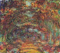 Claude Monet: Path of roses, 89x100 cm, about 1922.