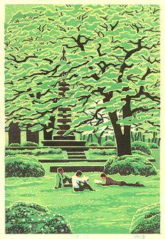hanga gallery . . . torii gallery: Campus in Spring by Shiro Kasamatsu
