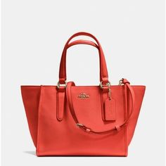 Coach MINI CROSBY CARRYALL IN LEATHER ($255) ❤ liked on Polyvore featuring bags, handbags, red handbags, red bag, mini leather handbags, red leather purse and miniature purse