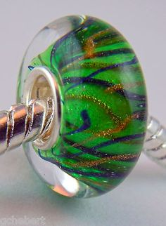 Green Squiggles Hand Blown Murano Glass & Sterling Large Hole European Bead NEW
