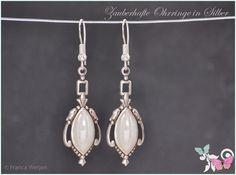 Ohrhänger - Edel Art Deco Vintage Ohrhänger Silber weiß opal - ein Designerstück von Zauberhafte-Ohrringe-in-Silber bei DaWanda