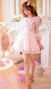 Japanese sweet lace chiffon floral princess dress