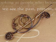 Wire Wrapped Steampunk Design Antiqued Copper Shawl Pin, Scarf Pin, Brooch - Made In USA on Etsy, $39.33 CAD