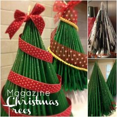 How to Make a Magazine Christmas Tree {Christmas DIY Decor} Looking for a way to recycle all those magazines and catalogs you get in the mail? Christmas Tree Themes, Xmas Tree, All Things Christmas, Christmas Holidays, Christmas Ornaments, Merry Christmas, Old Magazine Crafts, Diy Weihnachten, Holiday Crafts